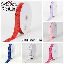 Swiss Dots 9mmX3m Grosgrain Quality Ribbon Bows Hair Crafts Scrapbooking Cards