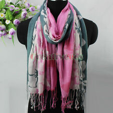 Elegant Women's Flower&Leaves With Tassel Cotton and Linen Long Scarf Shawl New