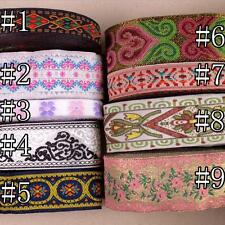 5/10 Yards Vintage Floral Embroidered Jacquard Ribbon Trim Woven Border Lace