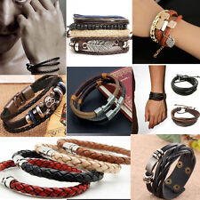 Women Men Braided Leather Stainless Steel Cuff Surfer Bangle Bracelet Wristband