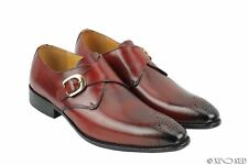New Mens Polished Genuine Real Leather Red Wine Monk Strap Loafer Dress Shoes UK