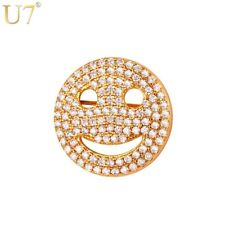 U7 Brand Smiley Face Pins For Women Gift Wholesale RhodiumGold Plated CZ Crystal