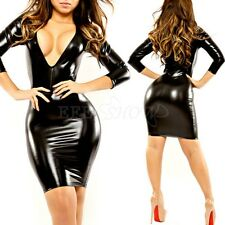 Fashion Women's Deep V Party Bodycon Shiny Leather Mini Dress Wet Look Clubwear