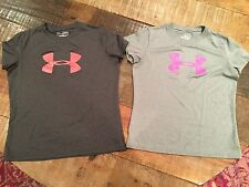 2 Under Armour Girls Athletic Shirt, Size Youth Medium--Excellent Condition!!