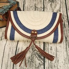 Weave Tassel Flap Closure Clutch Bag Cross-body Bag LT8Z