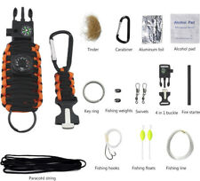 Outdoor Emergency Paracord Survival Bracelet Kit with Compass Whistle Carabiner