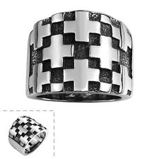 Cool Men's Titanium Steel Silver Cross Retro Punk Wide Ring Gothic Brand Jewelry