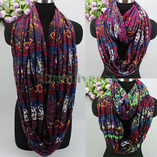Women's Vintage Multicolor Twill Floral Polyester Infinity Circle Loop Scarf New