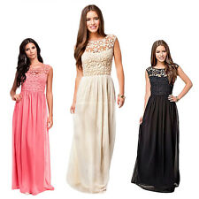 Women Lace Chiffon Backless Long Maxi Dress Evening Party Cocktail Prom Gown