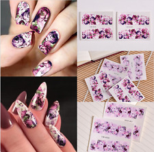 2pcs Chic 3D Nail Art Water Decals Stickers Transfers Deep Purple Flower Decor