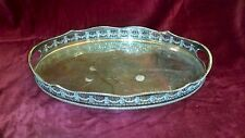Vintage Sheffield England Oval Silver Plate Footed Vanity Tray Parfume Tray