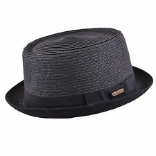 Unisex Crushable Straw Summer Pork Pie Trilby Hat With Black Band