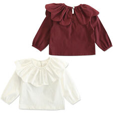 Cute Baby Kids Girl Solid Long Sleeve Lotus Leaf Collar Blouse Shirt Top Clothes