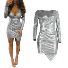 Women V Neck Long Sleeves Bodycon Pencil Dress Evening Party Clubwear Dress S6G7