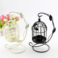 Vintage Metal Leaves Bird Cage Candlestick Candle Holder Tealight Iron Lantern