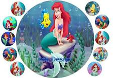 7 inch Little Mermaid and 10 cup cake topper on Edible Rice Paper