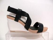 LADIES WOMENS NEXT MONO BLACK PADDED MID LEATHER STRAPPY SLIP ON WEDGE SANDALS
