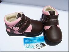 Girls Pink/Brown Leather Boots for Toddlers Kids for Children 1 - 4 years old