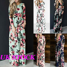 UK Womens Floral Print Long Sleeve Boho Dress Ladies Evening Party Maxi Dresses