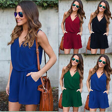 Womens Summer V Neck Chiffon Sleeveless Pockets Jumpsuit Rompers Short Pants