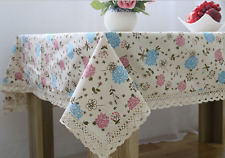 Elegant Pink Blue Flower  Coffee Table Cotton Linen Cloth Cover oAUr