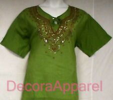 "Women Clothing Cotton Embroidered Blouse Shirt Green Brown M = 42"" to 44"" around"