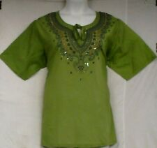 "Women Clothing Cotton Embroidered Blouse Shirt P Green Blue L= 44"" to 46"" around"