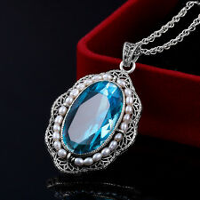 925 Silver Necklace Pendant Vintage Aquamarine with Natural Pearl Pendants Gift