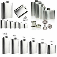 1 2 4 5 6 7 10 18 oz Stainless Steel Hip Liquor Whiskey Alcohol Flask Cap Funnel