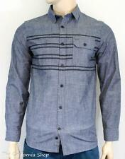 Hurley Asher Long Sleeve Woven Button Up Shirt Mens Blue Chambray New NWT Small