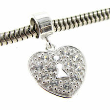 Sterling Silver Crystal Heart Love Lock Dangle Bead For European Charm Bracelet