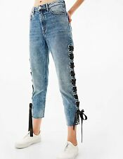 New Womens Ladies Lace Up Embroidered Blue Crop Denim Pants Trousers Jeans SML