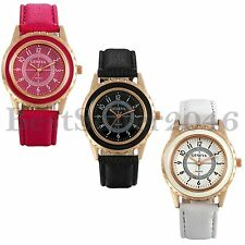 Fashion Womens Ladies Digital Dial Leather Strap Quartz Analog Wrist Watch Gift