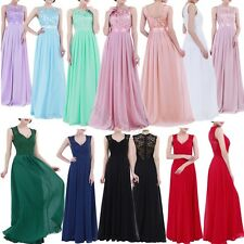 Lace Chiffon Women Long Bridesmaid Formal Evening Dresses Prom Party Gown 4-16