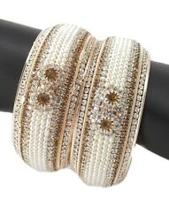 Pearl gold plated CZ fashion jewelry bridal 2pc broad bangle bracelet l1027