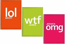 NEW Personalised Novelty Slogan A5 Notebooks LOL WTF OMG