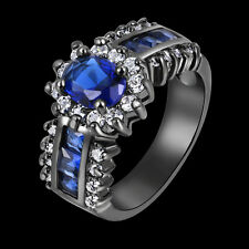 Blue Topaz Black 18K Gold Filled Womans Halo Wedding Rings Gift Size 6-11