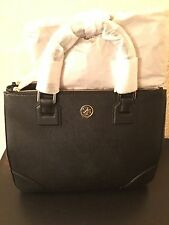 NWT Tory Burch Robinson Double Zip Tote Leather Black-$575 100% Authentic.