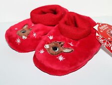 Rudolph NWT Boys Girls Infant Rudolph Sock Top Slippers w Fuzzy Reindeer
