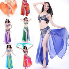 Professional Belly Dance Skirt Costume 2 layers 2 Side High Slits Gradient Color