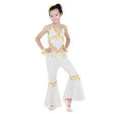 Kids Professional Belly Dance Halter Top Skirt Costume with Gold Sequin Coins