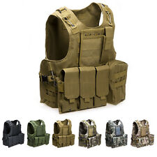 Airsoft USMC Tactical Combat Assault Vest Military Police Holster Pouches Gilet