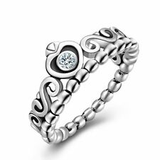Charm Princess Queen Crown Crystal Silver Ring Women Jewelry Wedding Party Gift