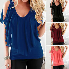 Womens Summer Casual Blouse V Neck Short Sleeve Shirt LADY Loose Casual Tee Tops