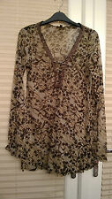 Mexx ladies long top sheer, long/short sleeves size L fit 12