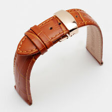 Butterfly Deployment Clasps Genuine Leather Light Brown Watch Band 14-22mm Strap