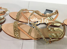 ZARA FLAT SANDALS WITH SHINY STRAPS NATURAL 35-41 REF. 2606/201