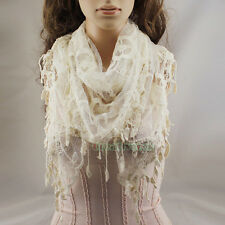 Fashion Sexy Lace Striped Crochet Triangle Mantilla Scarf Shawl Wrap Lace Tassel