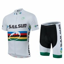 Comfortable Men Bicycle Bike Cycling Clothing Wear Jersey Top + Bib Shorts White