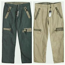 Mens Trousers Cargo Combat Vintage Distressed Design Blue or Taupe. Size S L XL